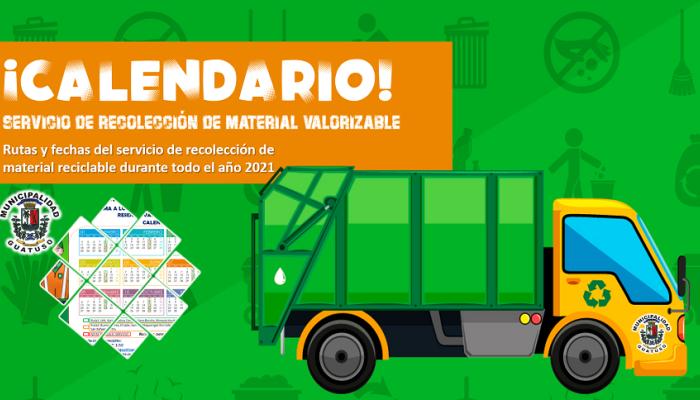 Calendario de recolección de residuos reciclables