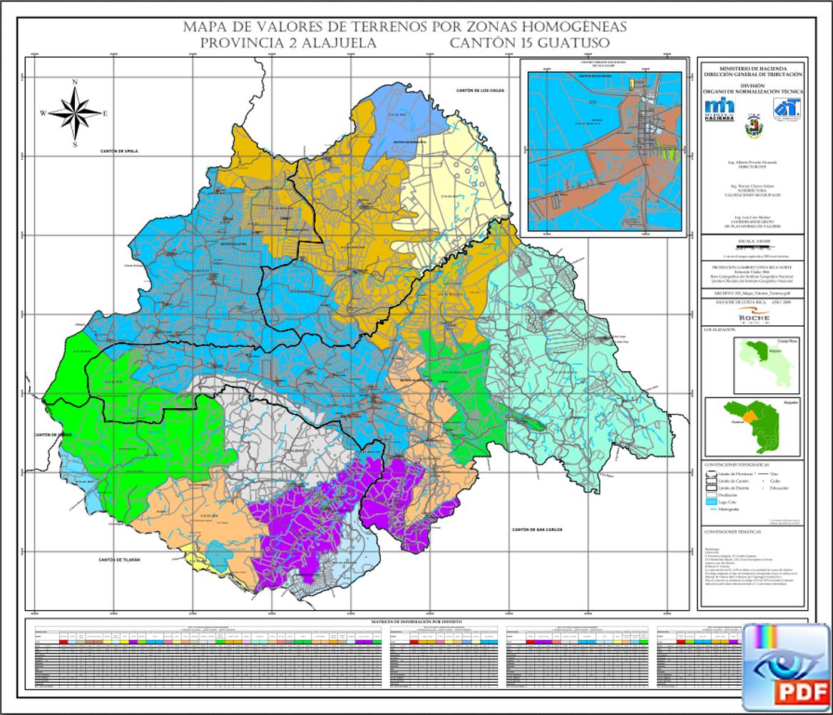 Mapa de valores de los terrenos